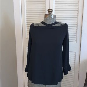 Loft beautiful black collar blouse cold shoulder